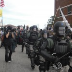 Riot police in Pittsburgh PA approaching peaceful protesters