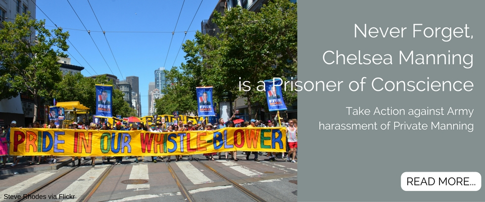 Pride in our Whistleblower banner for Chelsea Manning at Gay Pride parade