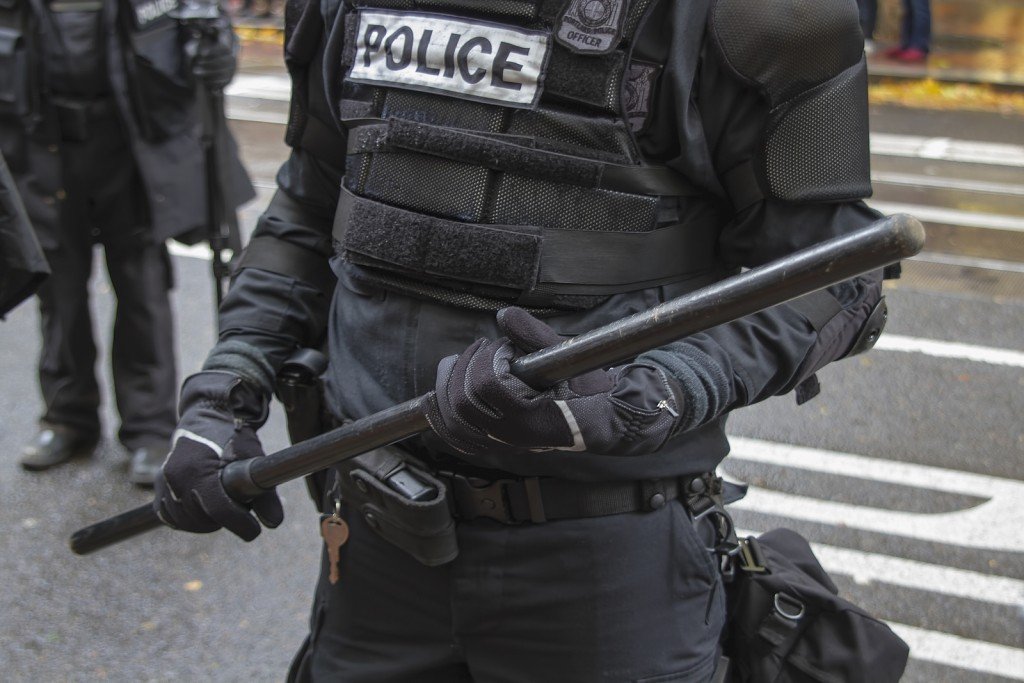 Portland Police In Riot Gear Closeup During Occupy Portland 2011