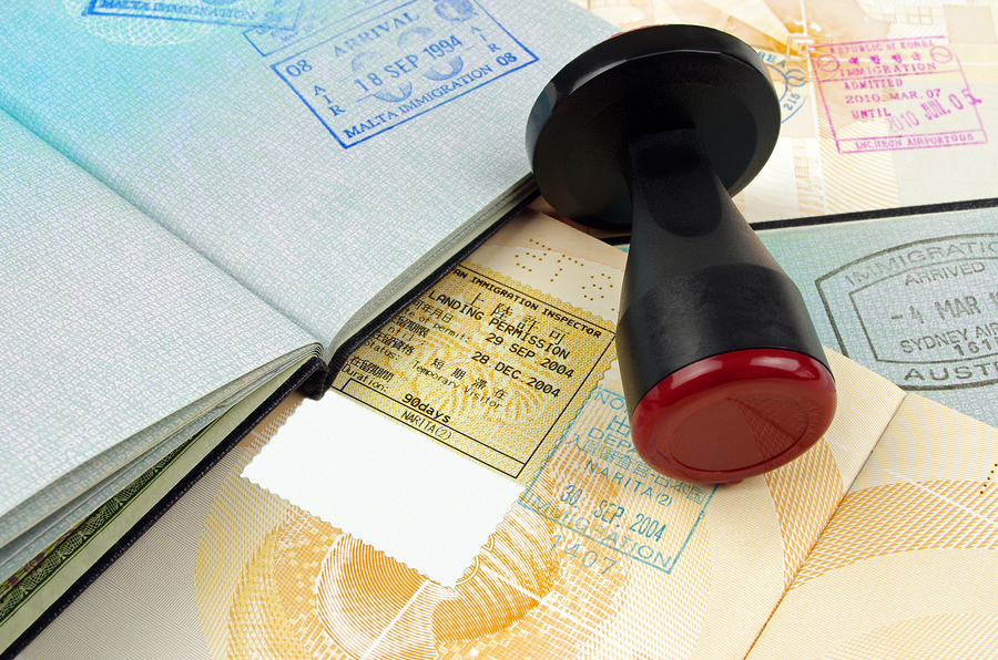 passport immigration stamps and rubber stamp