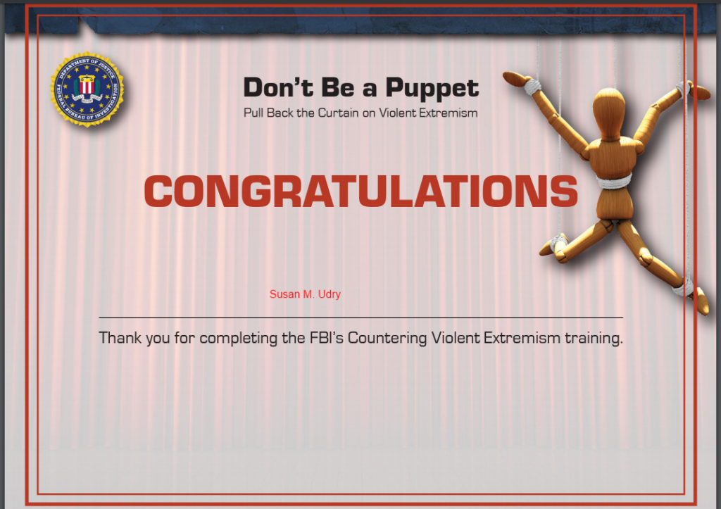"""Congratulations"" to me for completing the FBI's CVE training"