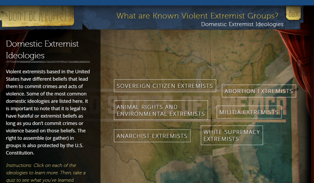 "screen shot of FBI game listing ""Known domestic violent extremist groups: which includes abortion, environment and animal rights ""extremists"""