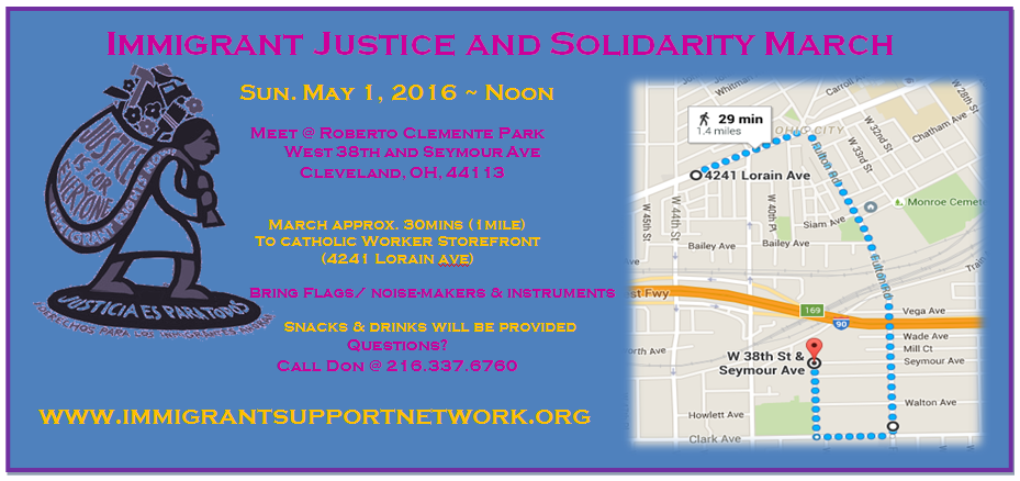 flyer for Immigrant Justice march on May 1 in Cleveland
