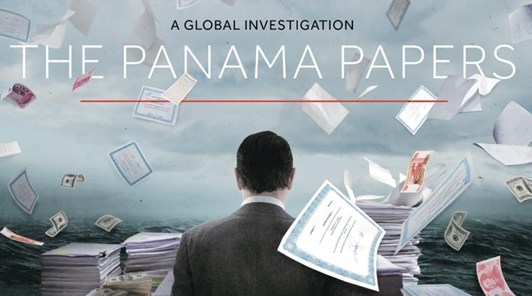 Panama papers graphic of papers and cash floating in the air