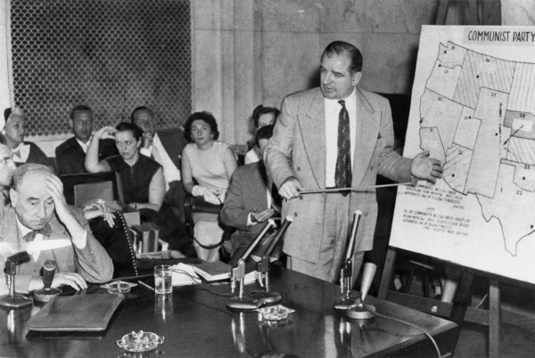 Joseph N. Welch (left) being questioned by Senator Joseph McCarthy (right), June 9, 1954.