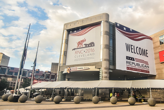 the Quicken Loans Arena in cleveland draped with GOP banners