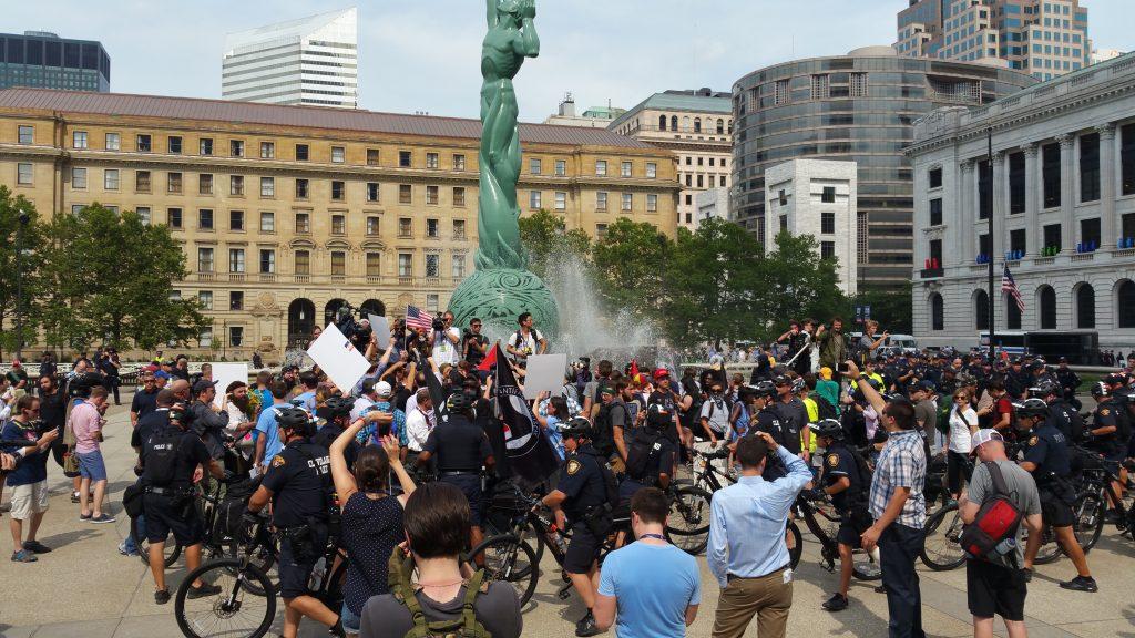 bike cops hem in protesters at RNC