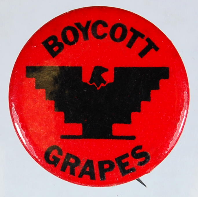 """red button says """"boycott grapes"""" with unitd farmworkers logo"""