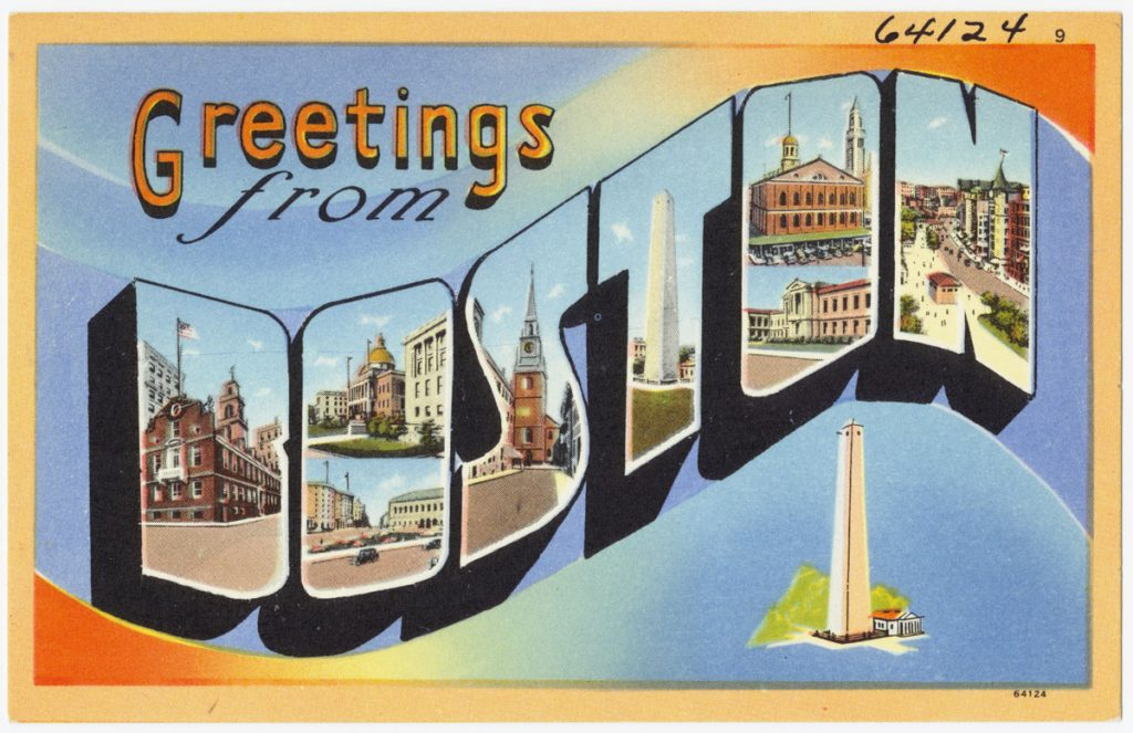 "old tyme postcard says ""greetings from Boston"""