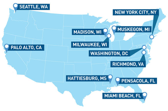 map of the US showing the cities that are considering surveillance bills: Seattel, WA, Palo Alto, Ca; Madison, WI; Milwaukee, WI; Hattiesburg, MS; Miami Beach, FL; Pensacola, FL; Richmond, VA; Washington, DC and others