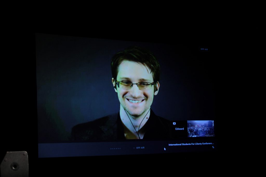 Edward Snowden on a giant screen speaking at the 2015 International Students for Liberty Conference at the Marriott Wardman Park Hotel in Washington, D.C.