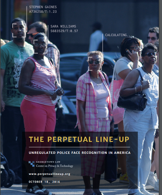 cover of The Perpetual Lineup report shows group of african americans with their faces being photographed as they are just standing on the sidewalk clearly doing nothing wrong