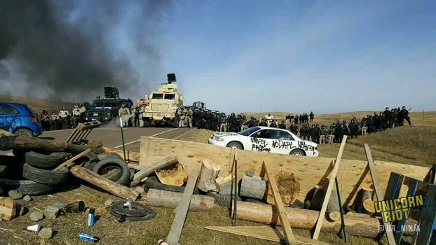 lines of armed police with armored vehicles