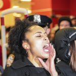 "NEW YORK CITY - DECEMBER 8 2014: several hundred demonstrators filled Barclay's Center during a visit by the Duke & Duchess of Cambridge in a ""Shut it down!"" protest against alleged police brutality."