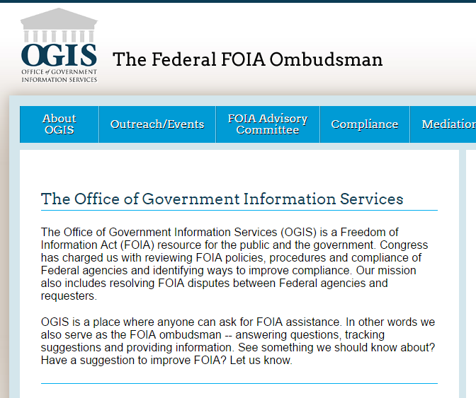 screenshot of the homepage of the OGIS, which is the FOIA ombudsman