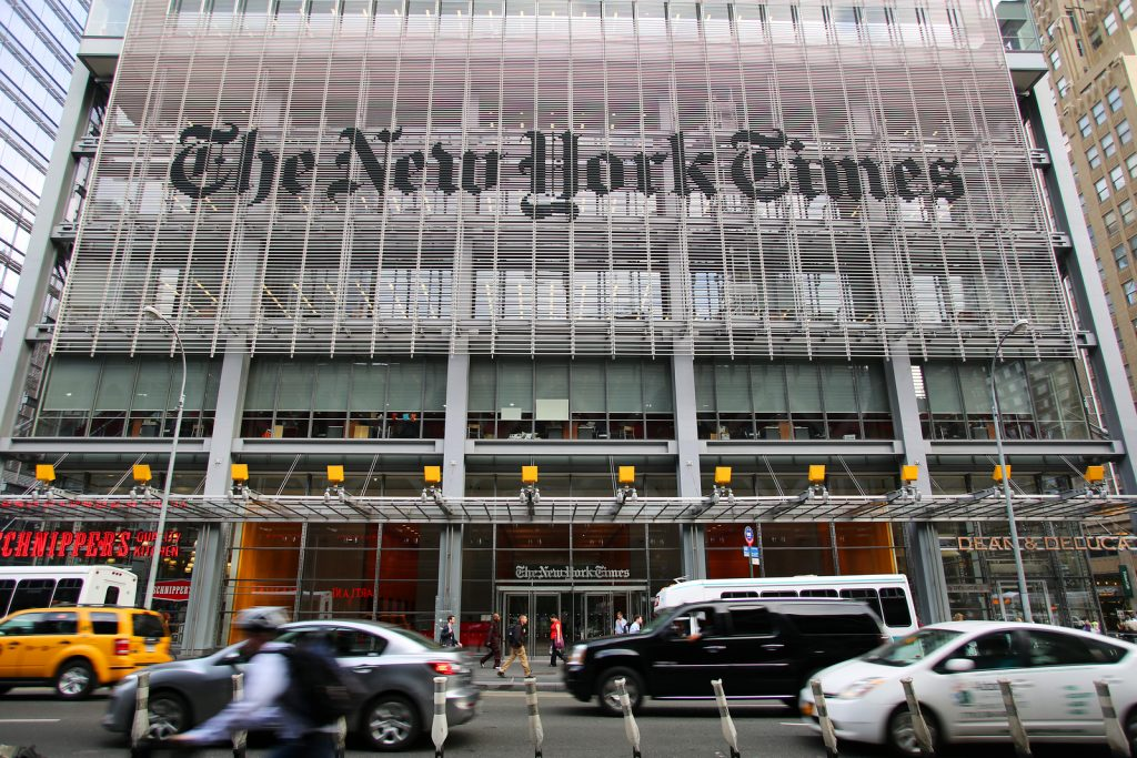 NEW YORK CITY - OCT 17: A general exterior view of the headquarters of The New York Times in Manhattan on Thursday, October 17, 2013.