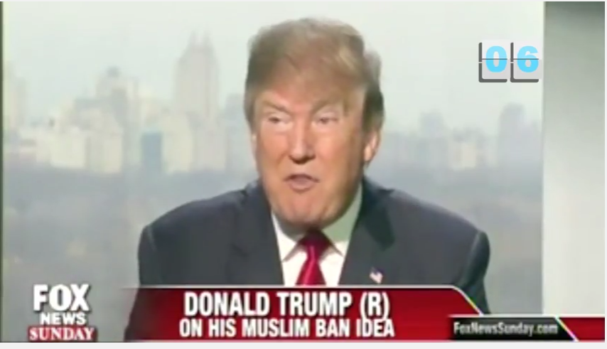 screenshot of Trump on Fox News defending his Muslim Ban