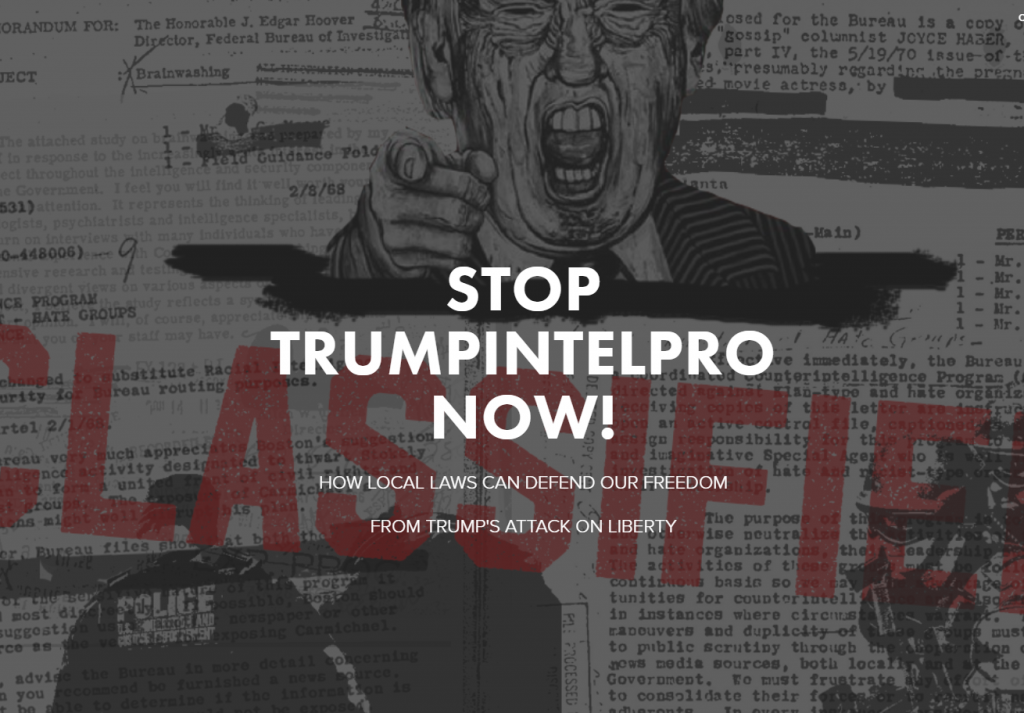 screenshot of trumpintelpro campaign homepage with angry Trump