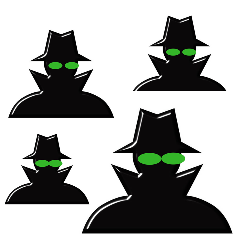 ominous FBI agents with Green Eyes