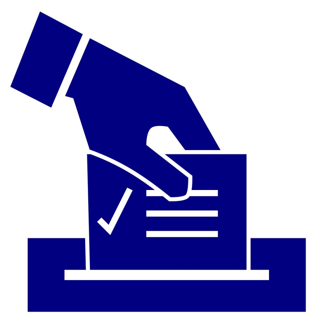 graphic of a hand putting a ballot into a box